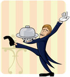 Waiter with lot´s of style Royalty Free Stock Photo