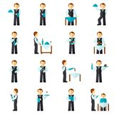 Waiter Man Icon Flat Stock Photography