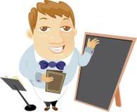 Waiter and menu blackboard Stock Photo