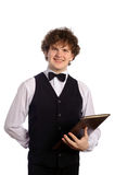 Waiter with menu. Young handsome waiter with menu, isolated on white Royalty Free Stock Photo