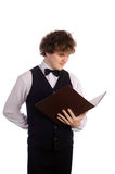 Waiter with menu Royalty Free Stock Image