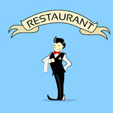 Waiter With Napkin Text Banner Restaurant Royalty Free Stock Photos