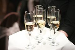 Waiter Offering Glasses of Champagne on Tray Stock Photos