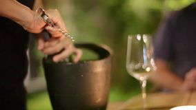 Waiter opens a bottle of wine in bucket with ice in restaurant. 1920x1080. Hd stock video