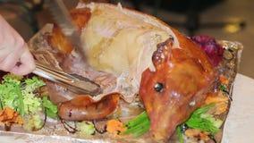 Waiter parses roast pig close up stock video