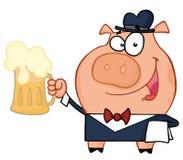 Waiter pig with beer. Friendly Pig waiter serving a mug of frothy beer stock illustration