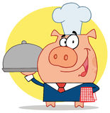 Waiter pig in a chefs hat. Nice waiter pig in a chefs hat, serving food on a platter, over a yellow circle Stock Image