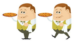Waiter with Pizza, Seamless Loop stock footage