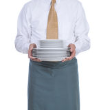 Waiter with Plates Royalty Free Stock Photo