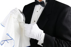 Waiter Polishing Glass stock photos