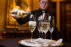 Waiter pouring champagne into glasses on a tray royalty free stock photography