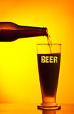 Waiter pouring dark beer Stock Images