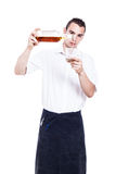Waiter pouring glass of whiskey Stock Photos