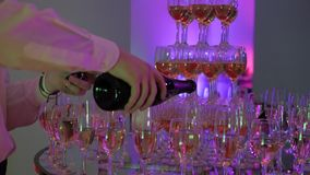 Waiter Pours Champagne Into a Tower of Glasses, Party And Celebration, Close Up Shot stock video