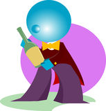Waiter present wine. Cartoon illustration Stock Photography