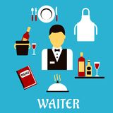 Waiter profession with flat tableware icons Stock Photo
