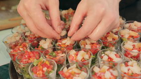 Waiter puts the pieces of fish in portions of vegetable salad on a tray in the catering. Waiter puts the pieces of fish in portions of vegetable salad on tray in stock footage