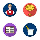 Waiter, reserve sign, menu, wine in an ice bucket.Restaurant set collection icons in flat style vector symbol stock Stock Image