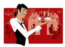 Waiter at restaurant. Waiter bringing coffee and drinks Vector Illustration