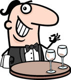 Waiter in restaurant cartoon illustration Stock Photo