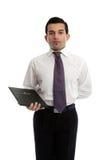 Waiter or restauranteur with a menu Stock Images