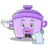 Waiter rice cooker character cartoon Stock Images