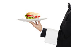 Waiter with sandwich Stock Images