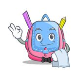 Waiter school bag character cartoon. Vector illustration Stock Photography
