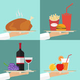 The waiter serves a dish on a tray, a lunch set Royalty Free Stock Photos