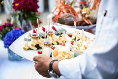 Waiter serves fresh seafood platter. Hand of waiter with fresh seafood platter. Creative restaurant meal concept, haute couture food. Selection of fresh seafood Royalty Free Stock Images