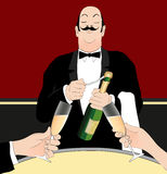 Waiter serving champagne Royalty Free Stock Photography