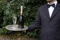 Waiter serving champagne. Waiter in formal dress serving champagne Stock Image