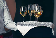 Waiter serving champagne on tray. Waiter serving champagne on a tray Royalty Free Stock Images