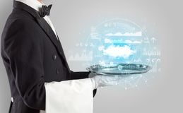 Waiter serving cloud technology concept. Elegant young waiter serving cloud technology conceptn royalty free stock photography