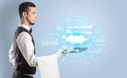Waiter serving cloud technology concept. Elegant young waiter serving cloud technology concept stock photo
