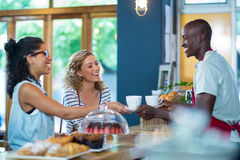 Waiter serving coffee to female customers. In caf Stock Images