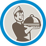 Waiter Serving Food on Platter Retro Royalty Free Stock Photos