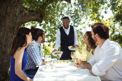 Waiter serving food to customers. In restaurant Stock Images