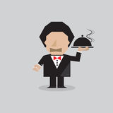 Waiter Serving Food. Vector Illustration Stock Photos