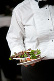 Waiter serving food - wedding series. Waiter serving a plate of food during a wedding stock photography