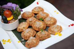 Waiter serving fried appetizers Stock Photo