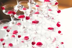 Waiter serving glasses with champagne on a tray.  Royalty Free Stock Photo