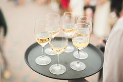 Waiter serving glasses with champagne on a tray.  Royalty Free Stock Photos