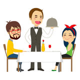 Waiter Serving Restaurant. Happy waiter serving on restaurant to lovely casual couple Stock Photography