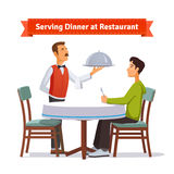 Waiter serving silver dish with lid to a customer stock illustration
