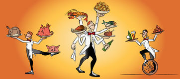 Waiter serving tasty meals Royalty Free Stock Photo