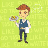 Waiter serving. Vector illustration Royalty Free Stock Photo