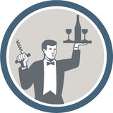 Waiter Serving Wine Bottle on Platter Retro Stock Photography