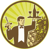 Waiter Serving Wine Grapes Barrel Retro Stock Photography