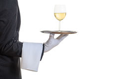 Waiter serving wine on a tray Stock Photography